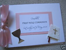 GIRLS FIRST HOLY  COMMUNION A5 PERSONALISED guest / memories book / photo album