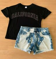 Girls size 10 Black CALIFORNA  tee &  blue white dyed denim shorts Target NEW