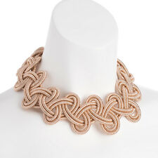 Large rose gold colour braided woven design with magnetic clasp choker necklace