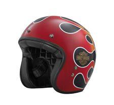 Harley-Davidson® Mens Retro Flame Low-Profile B01 Gloss Black 3/4 Face Helmet
