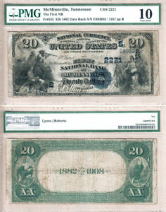 1882 DateBack $20 First National Bank of McMinnville,TN Fr.555 CH#2221. PMG VG10