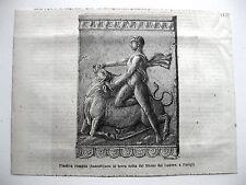 stampa antica old print MITOLOGIA ERCOLE PRENDE CORNA TORO LOUVRE PARIGI 1878