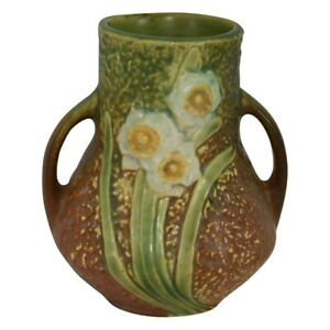 Roseville Pottery Jonquil Handled Arts And Crafts Vase