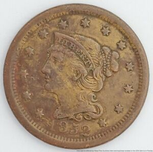 1852 US Large Cent Penny Braided Hair Bust Copper 1C Coin American 6 Point Star