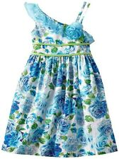 New Girls Bonnie Jean sz 14 Blue Flower Shoulder Dress Birthday Party Easter $55