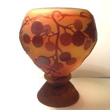 Antique Emile Galle Art Glass Grape Vine Wine Cup Vase
