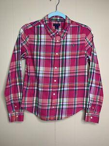 Ralph Lauren Girls Size 16 Pink Green Madras Plaid Button Front Blouse Shirt