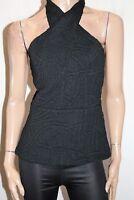 KOOKAI Brand Black Textured Sleeveless Wrap Neck Ivy Top Size 40 BNWT #TR71
