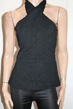 KOOKAI Brand Black Textured Sleeveless Wrap Neck Ivy Top Size 40 BNWT #TR71
