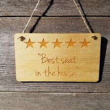 Funny Sign 5 Stars Best Seat in the House Rustic Decor Bathroom Humor Plaque