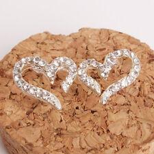 Fashion Women Elegant Crystal Rhinestone Heart Silver Ear Stud Earrings Kit