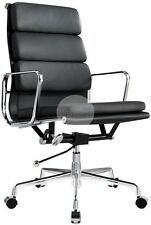 Replica Eames Soft Pad Management Office Chair - High Back Black Italian Leather