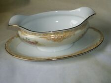 Vintage Noritake M Gravy Boat w/Attched Underplate  Gold and Rose Floral Trim
