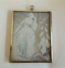 Antique Miniature painting of a young Woman Portrait / Rosemary Sutcliff 1950.