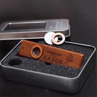 Wooden Kazoo Instruments Ukulele Guitar Partner Wood Harmonica With Metal Box