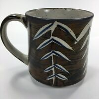 Hand Painted Blue Brown Leaves Coffee Tea Mug Cup Ceramic Pottery Modern