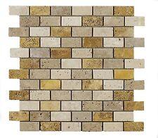 Sample of Light & Walnut & Gold Mixed Brick Travertine Mosaic Tiles