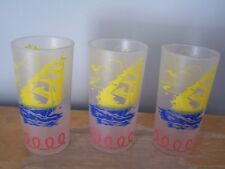 LOT OF 3 VINTAGE FROSTED CLIPPER SHIP GLASSES/TUMBLERS