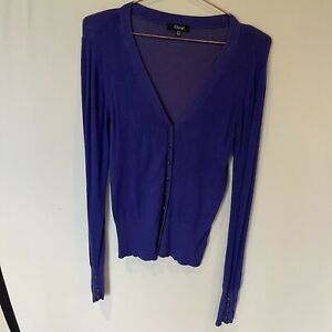 Osop V Neck Button Up Long Sleeve Purple Cardigan - XS -1 Button Missing On Cuff