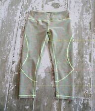 ZELLA Yellow Space Stripe Athletic Crops Capris Run Gym Lift Womens Size Small