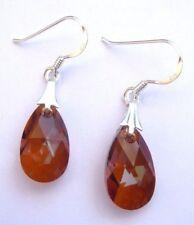 Sterling Silver CRYSTAL COPPER Pear Teardrop Hook Earrings SWAROVSKI ELEMENTS