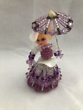 Vintage Handmade Beaded Southern Belle Lady With Parasol Umbrella