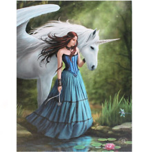 Anne Stokes Enchanted Pool Unicorn Canvas Wall Plaque Sign 25cm X 19cm