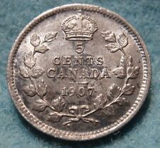 1907 AU Canadian 5 Cent Silver KING EDWARD VII COIN CANADIAN