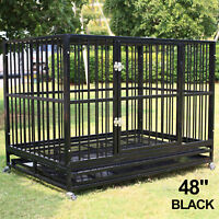 """48"""" Dog Crate Large Kennel Heavy Duty Cage Pet W/Wheels & Tray Black Portable"""