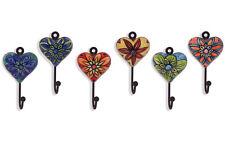 6 Garderobenhaken Kleiderhaken Handtuchhaken mit Herz Herzen Metall - Keramik
