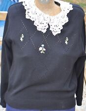Women's Size Medium Southern Lady Black Sweater w/ Flowers & Lace Neckline