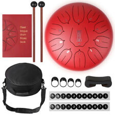 More details for 12 inch 11 notes steel tongue drum hand drum with drum mallets & storage bag red