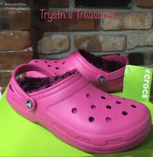 Crocs Classic Candy Pink Berry leopard lined Clog M9/W11 or M11 >NEW