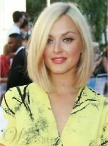 100% Human Hair! New Fashion Charm Medium Light Blonde Straight Women's Full Wig