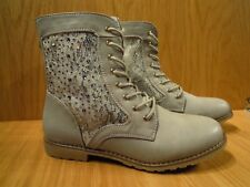 Grey Ankle Boots Size 8 Wide Fit Calf Leg Ladies Lace Up Chunky Sole Womens Boot