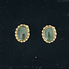 18ct Yellow Gold and Jade Earrings