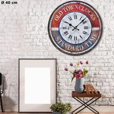Shabby Look Wand Uhr Metall rot blau Zeit Anzeige analog Deko Aufdruck D 40 cm