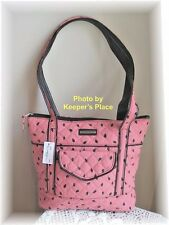 Longaberger Bag WATERMELON SEEDS Pink Black Faux Leather Trim Quilted New Tag