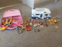 Playmobil bundle, Campervan And Picnic Items, Figures And Storage Box With...