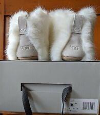 "Sz 8 UGG Amary White ""fur"" Cozy Fluffy Slippers Sheepskin NIB EU 39"