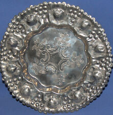 VINTAGE HAND MADE DECORATIVE TIN ORNATE FLORAL PLATE