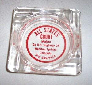 """4 1/8"""" CIGARETTE TOBACCO ashtray ALL STATES COURT MOTEL Manitou Springs Colorado"""