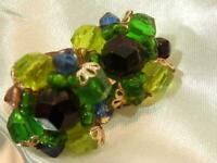 Vintage 60's West Germany Black Green Blue Lucite Flower Clip on Earrings 646jl9