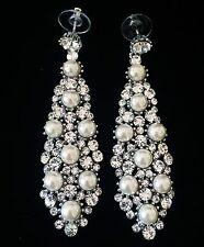 EARRING using Swarovski Crystal Dangle Drop Wedding Bridal Silver Pearl SW28
