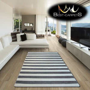 AMAZING THICK MODERN RUGS SKETCH Striped GREY WHITE F758 LARGE SIZE BEST-CARPETS