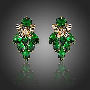 Green Butterfly Zircon Earrings Fashion Shiny Stone Party Women Earrings Jewelry