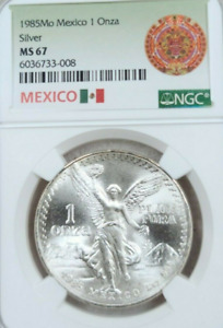 :1985-Mo 1-ONCE MEXICO LIBERTAD WINGED-VICTORY KM# 494.1 NGC MS-67 HIGH-GRADES
