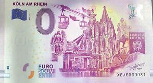 BILLET 0 ZERO EURO SCHEIN SOUVENIR KOLN AM RHEIN 2017-3 TOUT PETIT N° 031