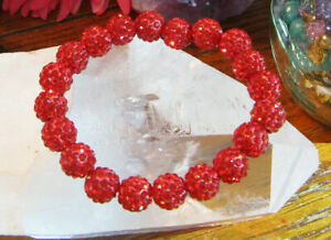 "New 8"" Rustic Red Shimmer Crystal Ball 10mm Cuff Bracelet--Stocking Stuffer"