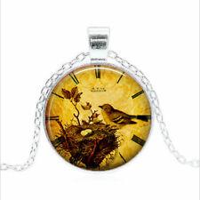 Bird Nest Clock Tibet silver Glass dome Necklace chain Pendant Wholesale